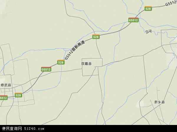 中国河南省新乡市获嘉县地图(卫星地图)