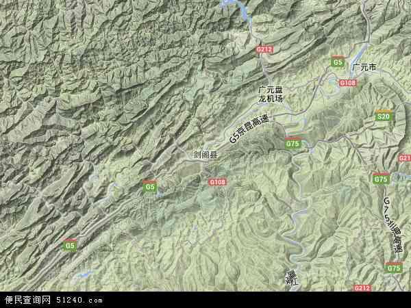 中国四川省广元市剑阁县地图(卫星地图)
