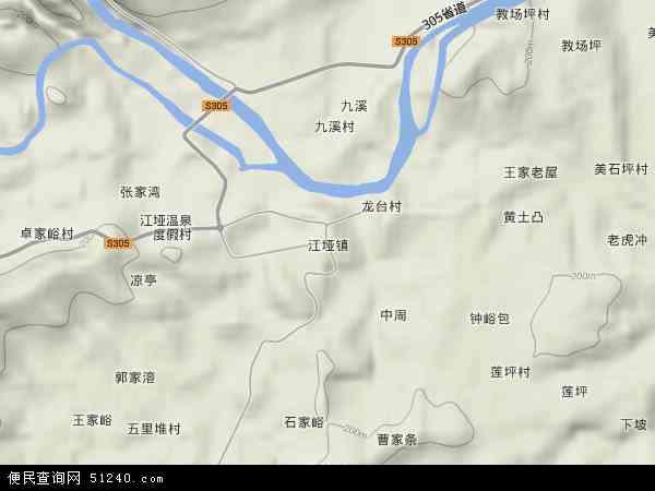 中国湖南省张家界市慈利县江垭镇地图(卫星地图)