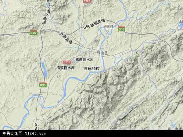 中国江西省景德镇市地图(卫星地图)