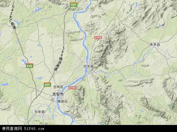 中国江西省吉安市吉水县地图(卫星地图)