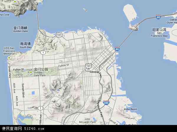 美国加利福尼亚旧金山地图(卫星地图)