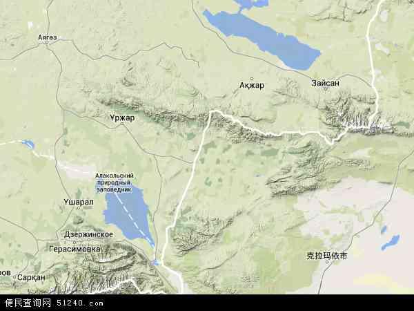 维吾尔自治区塔城地区裕民县吉也克镇地图(卫星地图)