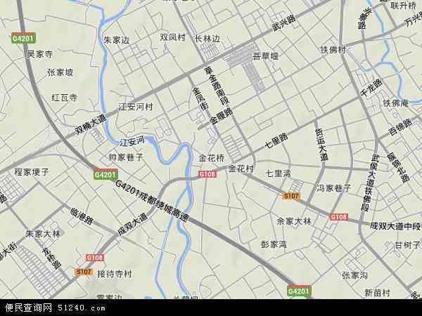 金花桥2017年卫星地图 中国四川省成都市武侯区金花桥地图