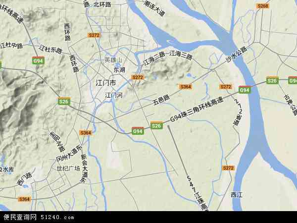 中国广东省江门市江海区地图(卫星地图)