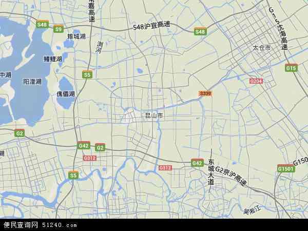 中国江苏省苏州市昆山市地图(卫星地图)