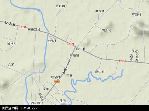 中国广东省汕尾市海丰县可塘镇地图(卫星地图)