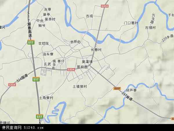 中国广东省揭阳市惠来县葵潭镇地图(卫星地图)