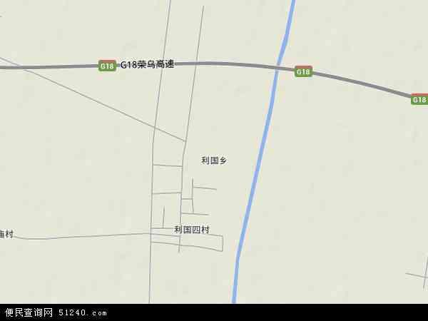 中国山东省滨州市沾化县利国乡地图(卫星地图)