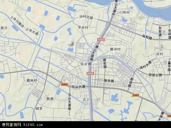 中国广东省佛山市顺德区乐从镇地图(卫星地图)
