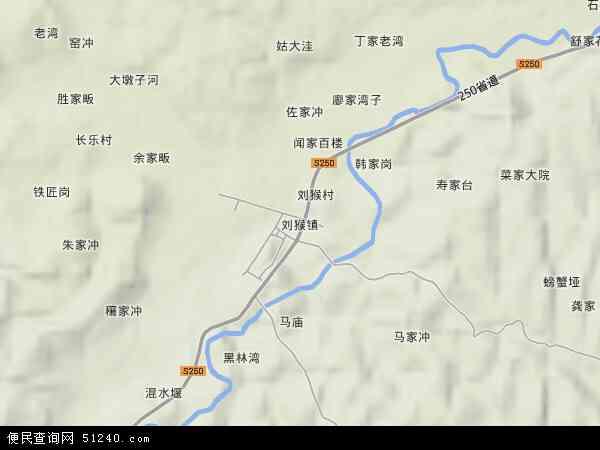 中国湖北省襄阳市宜城市刘猴镇地图(卫星地图)