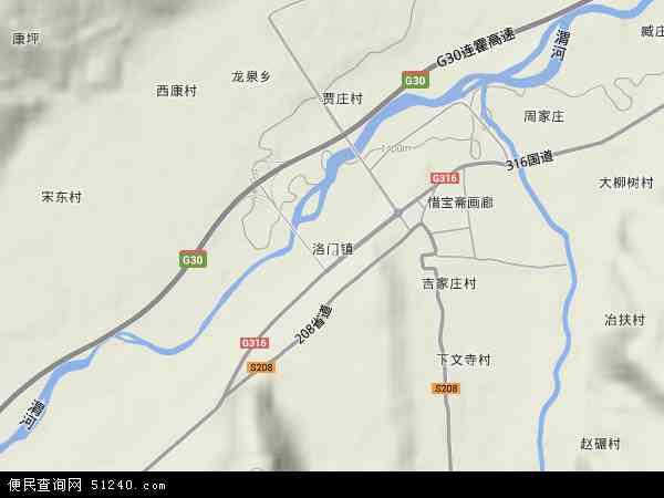 中国甘肃省天水市武山县洛门镇地图(卫星地图)