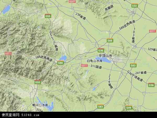 中国河南省平顶山市鲁山县地图(卫星地图)