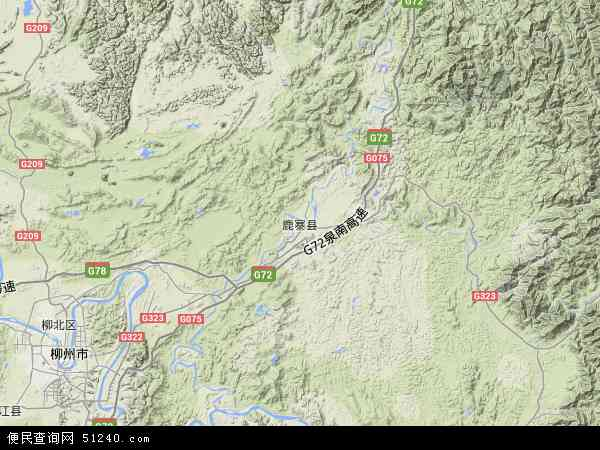 中国广西壮族自治区柳州市鹿寨县地图(卫星地图)