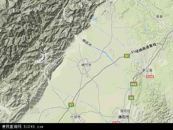 中国四川省德阳市绵竹市地图(卫星地图)
