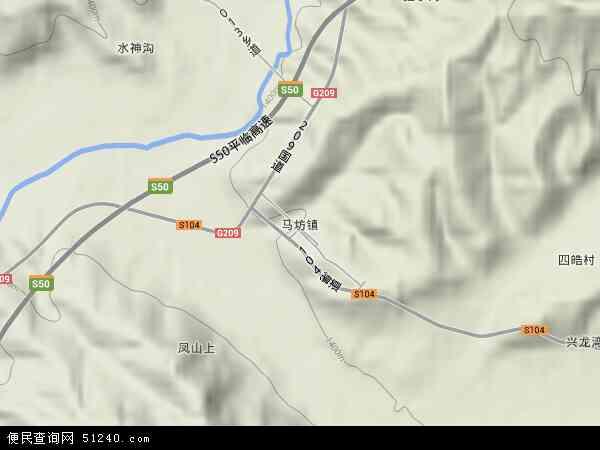 中国山西省吕梁市方山县马坊镇地图(卫星地图)图片