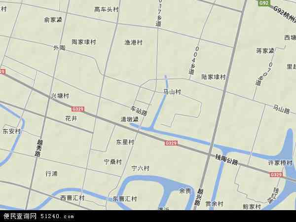 中国浙江省绍兴市越城区马山镇地图(卫星地图)