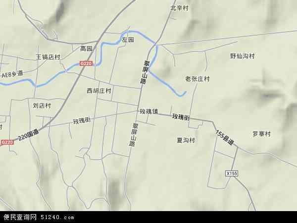 玫瑰镇地图 - 玫瑰镇卫星地图