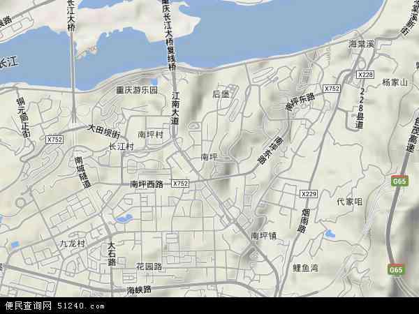 中国重庆市南岸区南坪地图(卫星地图)