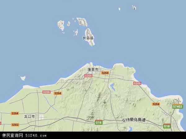 中国山东省烟台市蓬莱市地图(卫星地图)