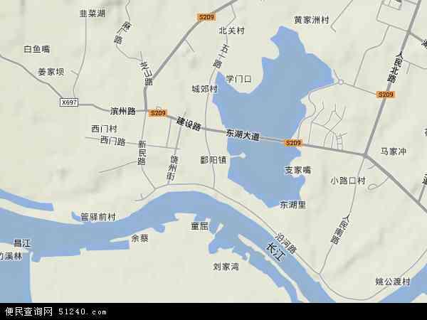 鄱阳镇地形地图