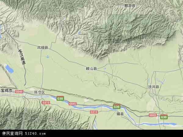 中国陕西省宝鸡市岐山县地图(卫星地图)