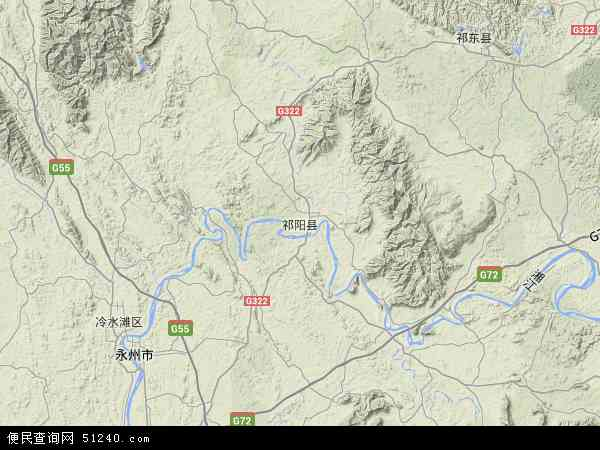 中国湖南省永州市祁阳县地图(卫星地图)