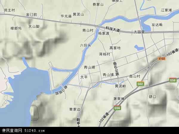 中国浙江省杭州市临安市青山湖地图(卫星地图)