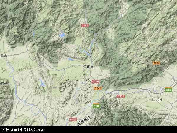 中国广东省韶关市仁化县地图(卫星地图)