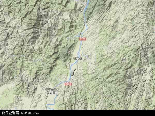 中国广西壮族自治区柳州市融安县地图(卫星地图)