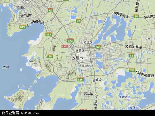 中国江苏省苏州市地图(卫星地图)