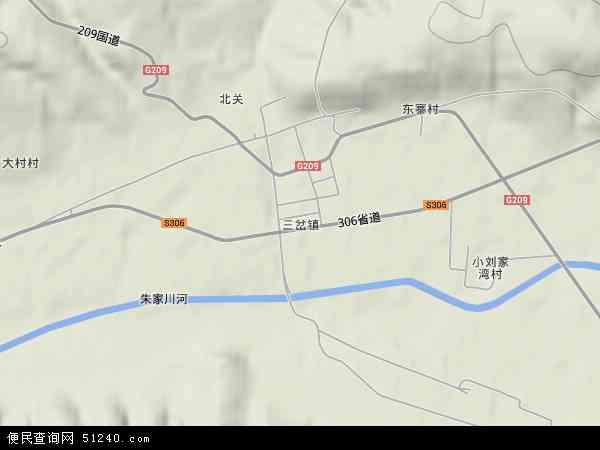 中国山西省忻州市五寨县三岔镇地图(卫星地图)