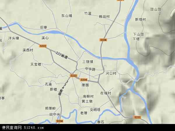 三饶镇2017年卫星地图 中国广东省潮州市饶平县三饶镇地图