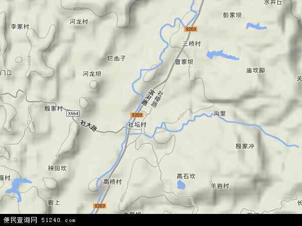 中国重庆市丰都县社坛镇地图(卫星地图)