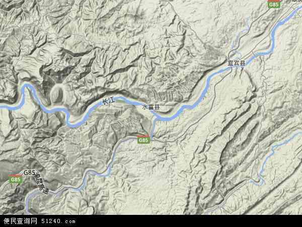 中国云南省昭通市水富县地图(卫星地图)