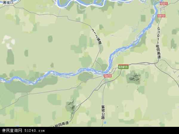 中国黑龙江省鹤岗市绥滨县地图(卫星地图)