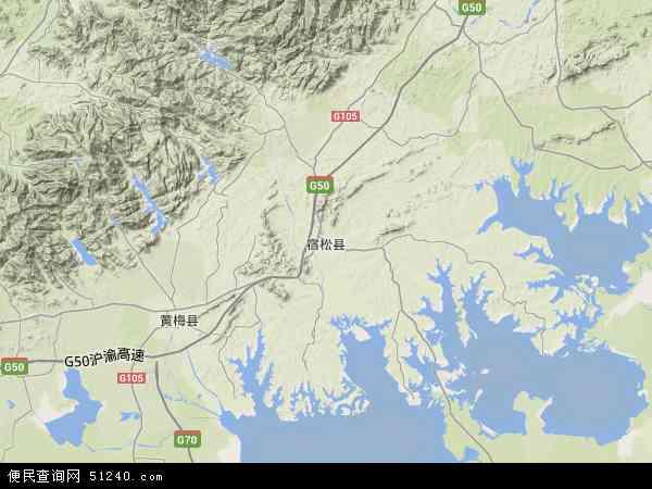 中国安徽省安庆市宿松县地图(卫星地图)