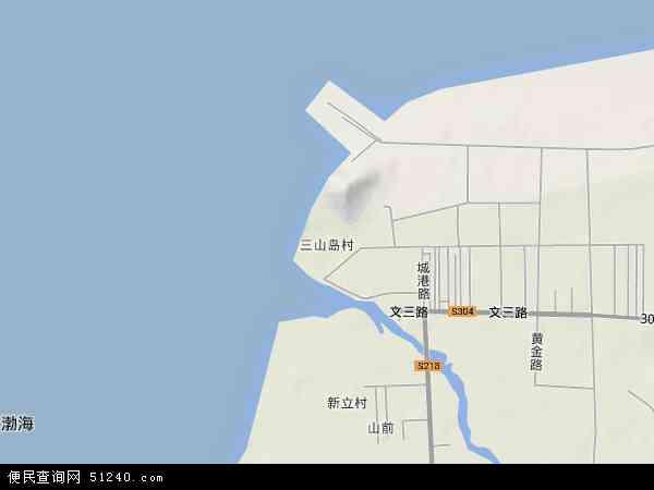 中国山东省烟台市莱州市三山岛地图(卫星地图)