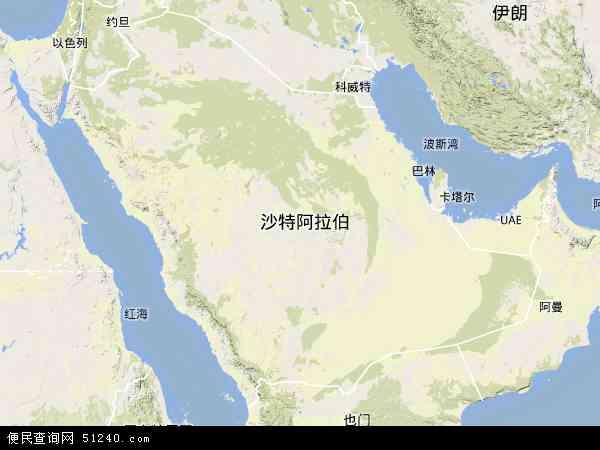 沙特阿拉伯地形图 - 沙特阿拉伯地形图高清版 - 2016年沙特阿拉伯地形图