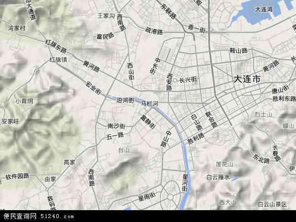 中国辽宁省大连市沙河口区地图(卫星地图)