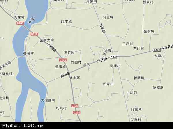 中国湖北省武汉市新洲区三店地图(卫星地图)