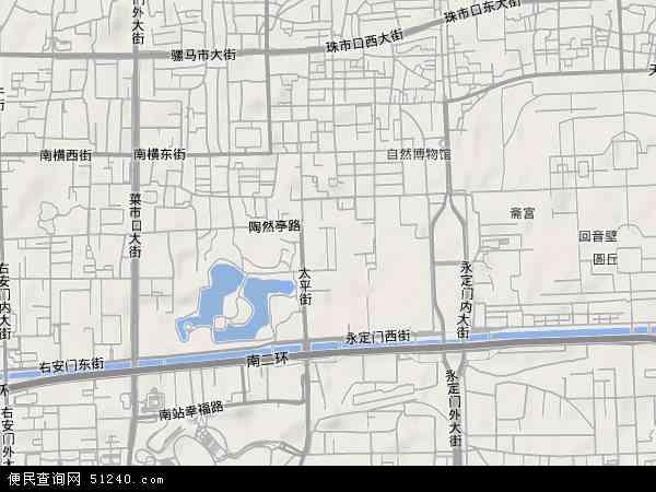 中国北京市西城区陶然亭地图(卫星地图)
