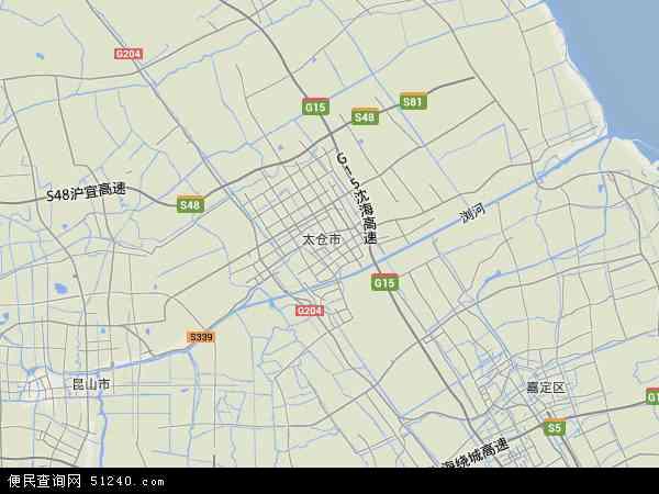 中国江苏省苏州市太仓市地图(卫星地图)