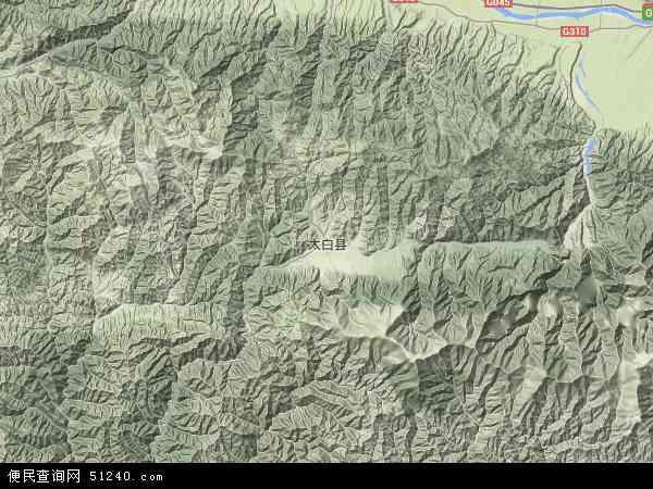 中国陕西省宝鸡市太白县地图(卫星地图)