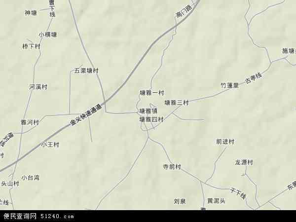 中国浙江省金华市金东区塘雅镇地图(卫星地图)