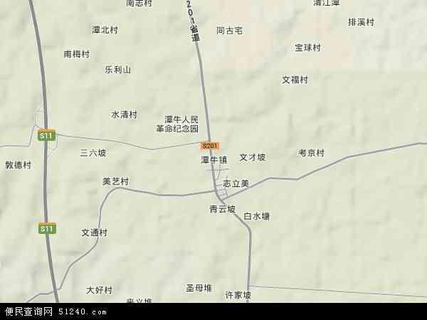 中国海南省省直辖县级行政区划文昌市潭牛镇地图(卫星地图)