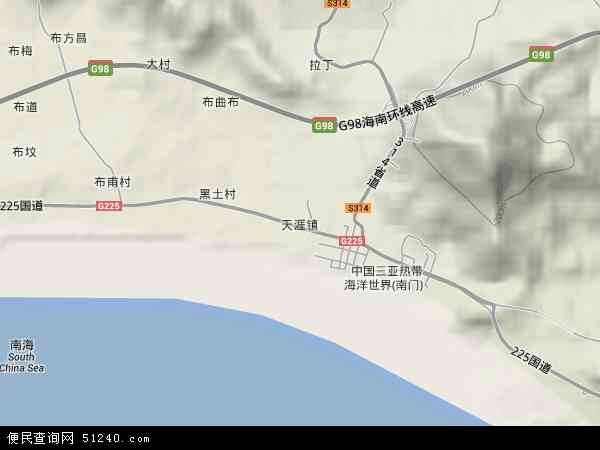 中国海南省三亚市天涯镇地图(卫星地图)