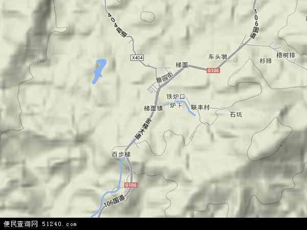 中国广东省广州市花都区梯面镇地图(卫星地图)