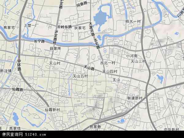 中国上海市长宁区天山路地图(卫星地图)