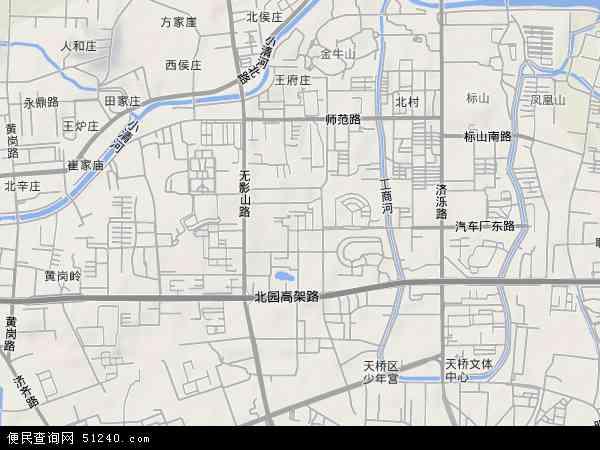 中国山东省济南市天桥区无影山地图(卫星地图)